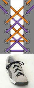 Шнуровка кед двумя шнурками