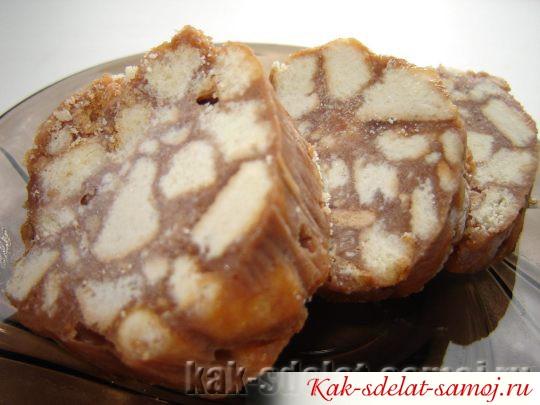Сладкая колбаска из печенья