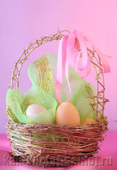 Пасхальные яйца в корзинке, фото