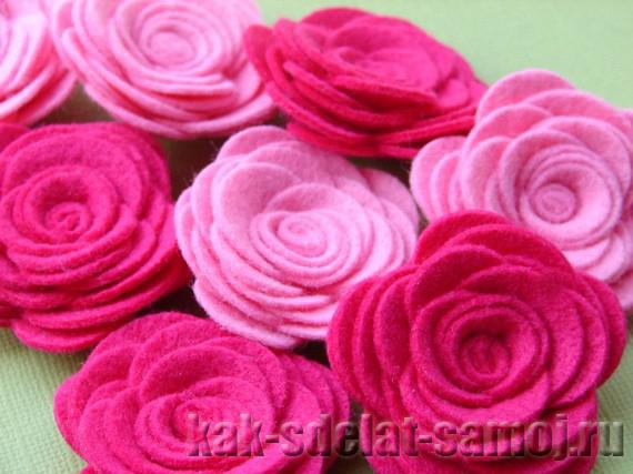 Цветочек из фетра, розы