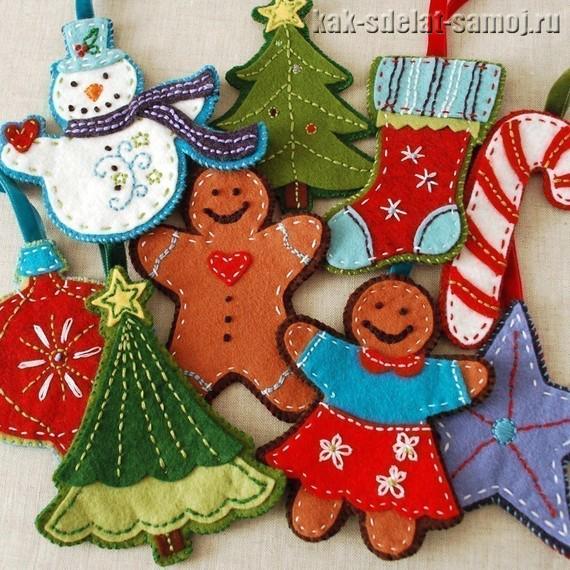 Фетровые Новогодние игрушки, фото