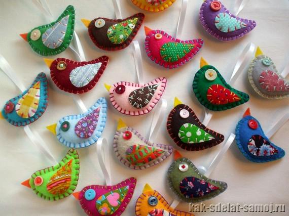 Фетровые игрушечные птицы на Новый год