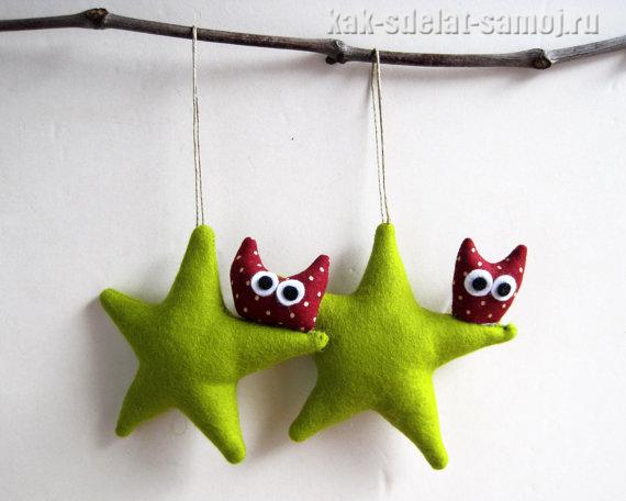 Елочные и новогодние игрушки из фетра