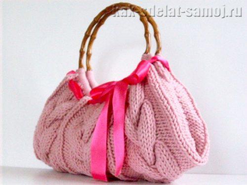 Вязанная сумка спицами