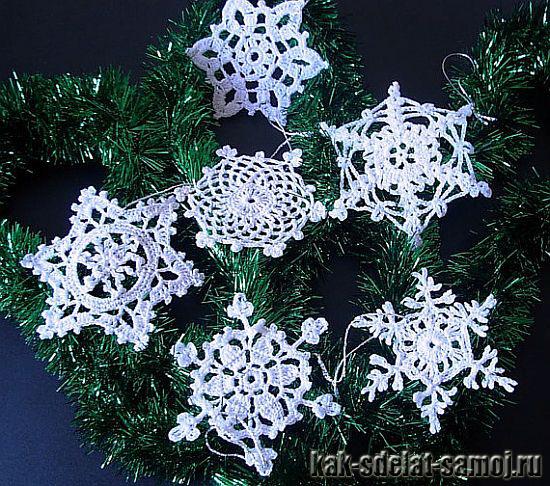 Вязаные снежинки, фото
