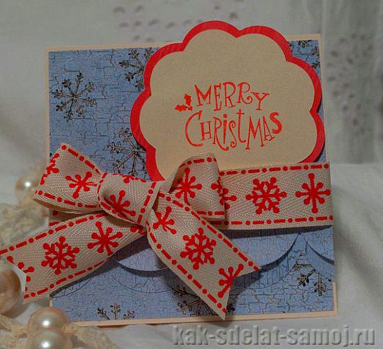 """Новогодняя открытка """"Снежинка"""" своими руками"""