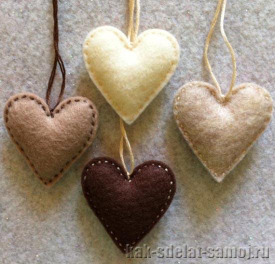 Сердечки-валентинки из фетра, фото
