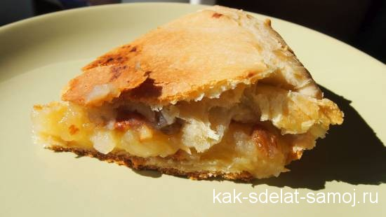 фото-рецепт яблочного пирога с миндалем, медом и изюмом