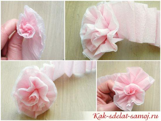 Как сделать цветок из креповой бумаги