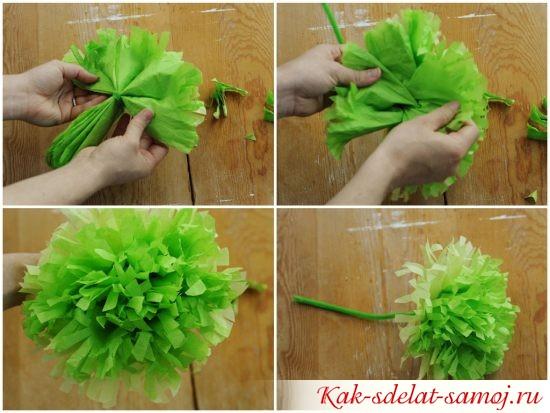 Как сделать цветы из креповой 890