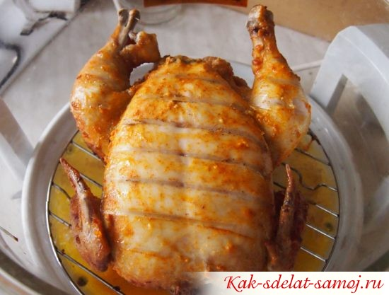 Курица на решетке аэрогриля (поджарена с одной стороны)