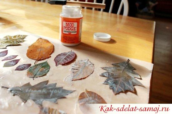Как сделать аппликации из листьев