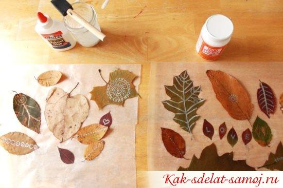 Поделки из осенних листьев - аппликации