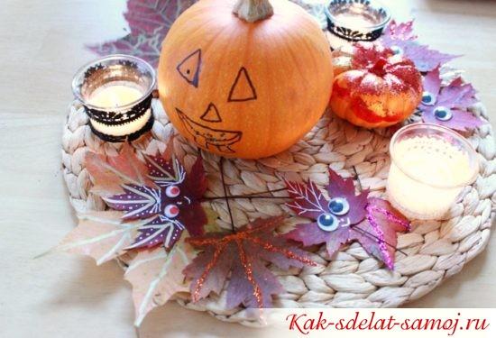 Поделки на Хэллоуин из листьев