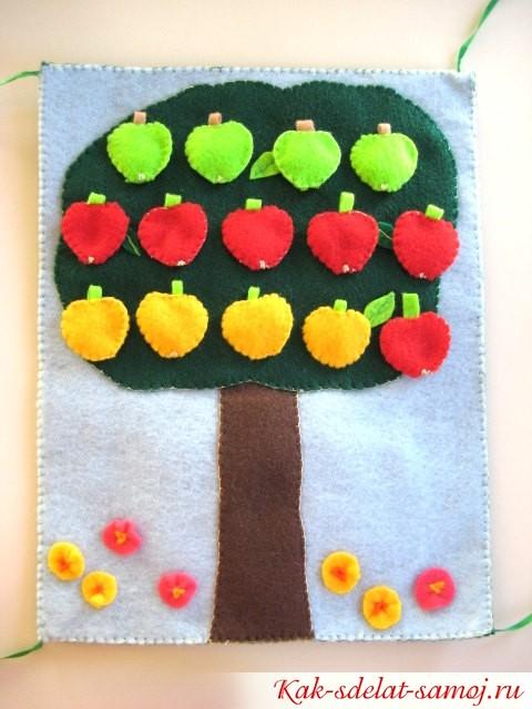 фетровое дерево с фруктами